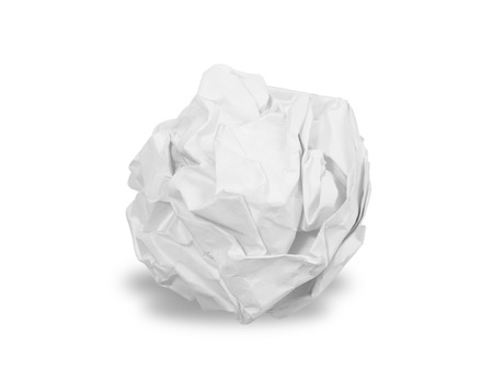 Crumpled paper ball isolated over white Foto de archivo