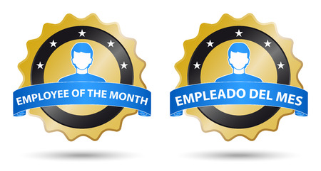 month: employee of the month, english spanish text Illustration