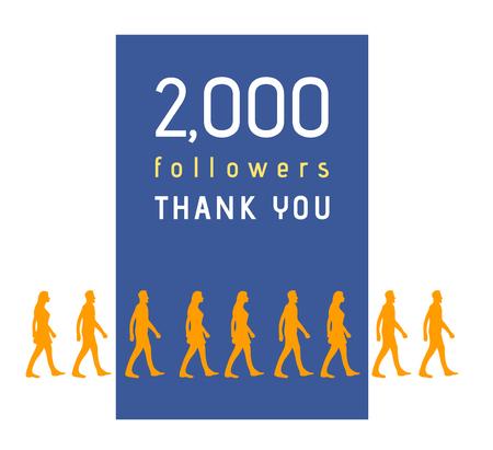 followers: 2000 followers milestone with people line