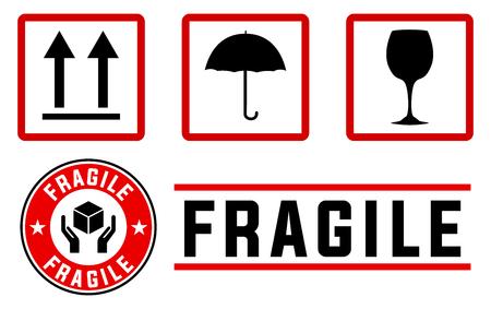 manejar: tenues signos y sellos en colores rojo y negro