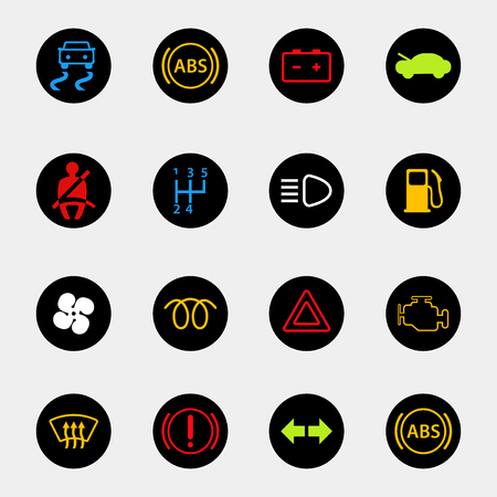 dashboard: dashboard car icons set in colors Illustration