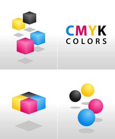 CMYK shapes and colors for designers