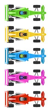 Fünf Race Cars mit kühlen Farben