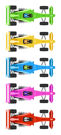 Five Race Cars with cool colors