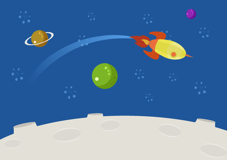 cartoon rocket: space background sky and color planets