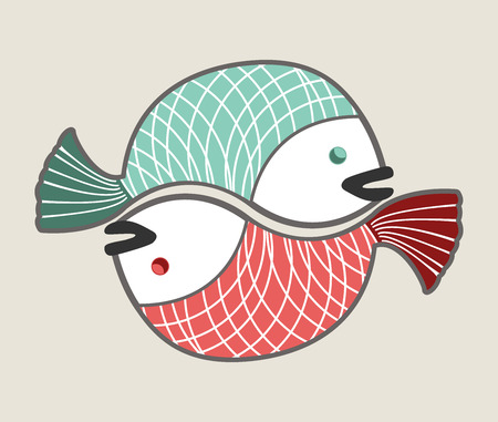 circle love fishes, green and red Ilustrace