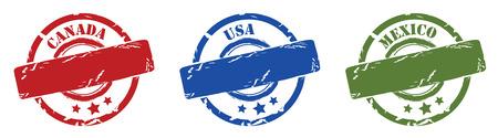 Rubber stamps north america, canada mexico, usa