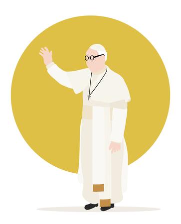 Katholischer Christ Papst mit Sonne hinter