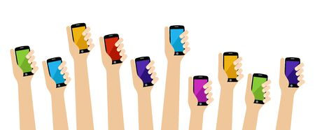People hands holding color smartphone