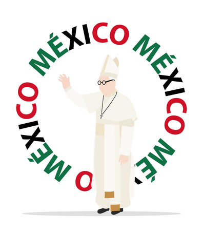 pope: Visit of the Christian pope to Mxico Illustration