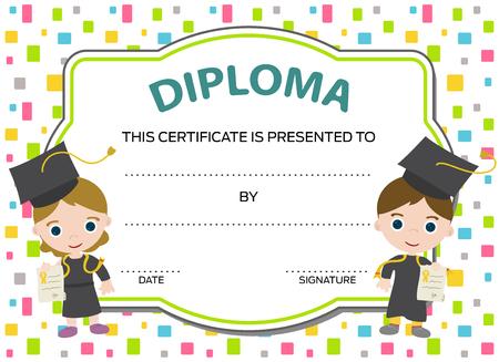 preescolar: niños diploma con dos graduados