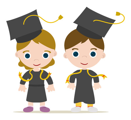 Graduated kids, girl and boy