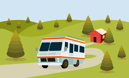 rv: RV Camping forest background for family travel