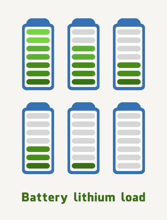 Lithiumbelading van de batterij in groene en blauwe kleuren