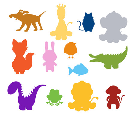 dinosaur cute: color baby silhouette animals set