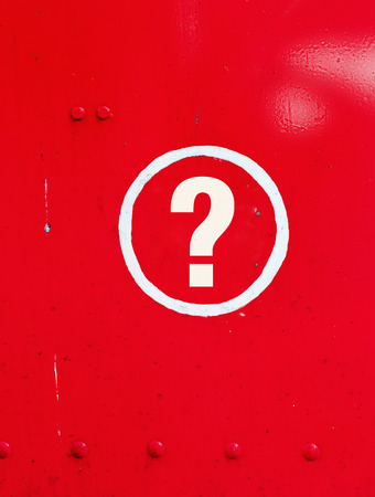 red metal: Question sign in red metal