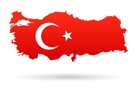 Turkey map flag, red with moon and star
