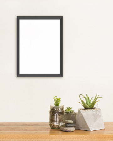brown background: Succulent green plants stones and frame mockup Stock Photo