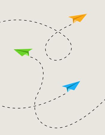 ensemble d'avions en papier de couleur dans l'itinéraire Vecteurs