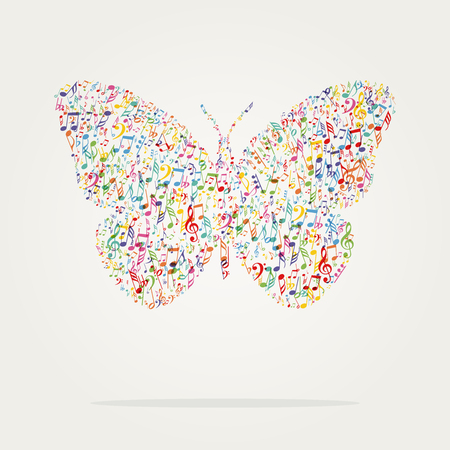 butterfly shape music color with notes 일러스트