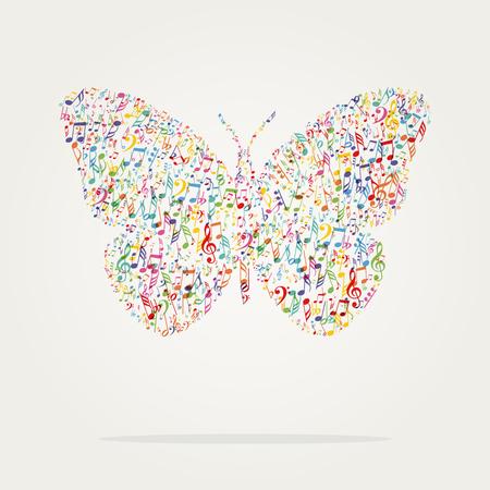 silhouette papillon: forme de papillon couleur de la musique avec des notes