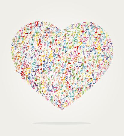 Hart vorm muziek kleur met notities