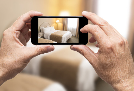 Taking picture in hotel room with smartphone