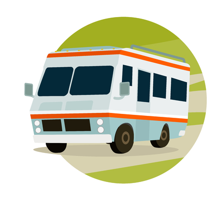 rv: RV in mountains on a circle, travel icon
