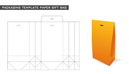 verpakking sjabloon papieren cadeau zak in oranje kleur Stock Illustratie