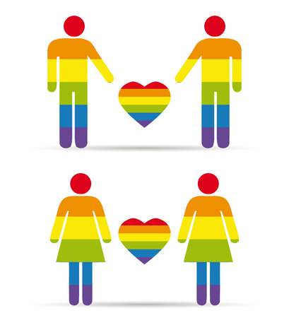 homosexual couple: gay couples, men and woman with raimbow colors