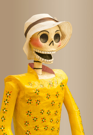 yelllow: happy female skull with yelllow dress