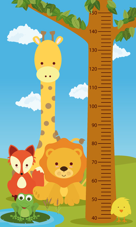 Height chart animals Ilustracja