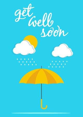well: Umbrella card poster Get well soon