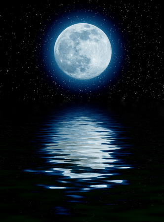 blue sea: blue moon over the sea with starts Stock Photo