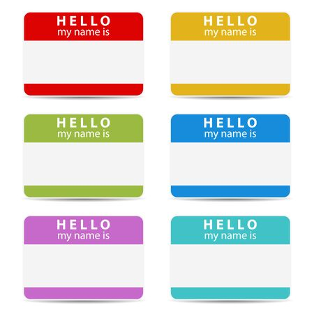 name tag: Hello my name is color set tags