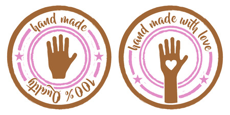 hand crafted: set of two hand made stamps pink and brown Illustration
