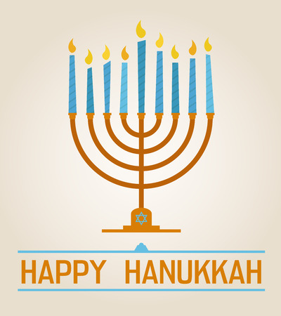 Happy Hanukkah poster with nine candles