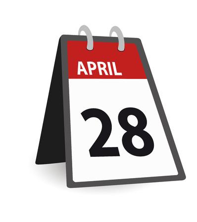calendar day: Red day calendar april 28 date