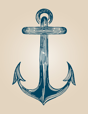 cast iron: Blue vintage anchor draw in blue color Illustration
