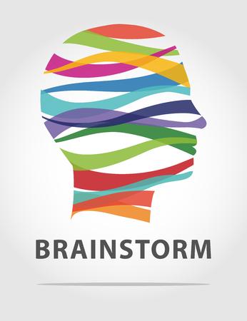 Farbe Idee Mann mit Streifen, Brainstorming-Konzept Vektorgrafik