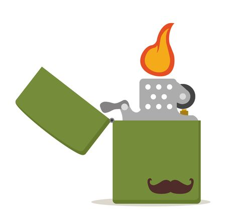 Green metal lighter with moustache icon
