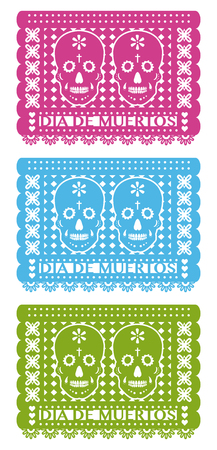 Day Of The Dead, Cut Out Paper Set three colors