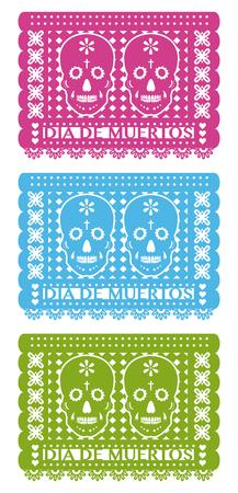 Tag der Toten, Ausschnitt Papier Set drei Farben Standard-Bild - 67101488
