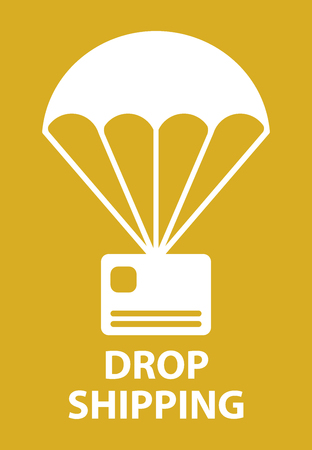 airmail stamp: Parachute drop shipping icon in orange color