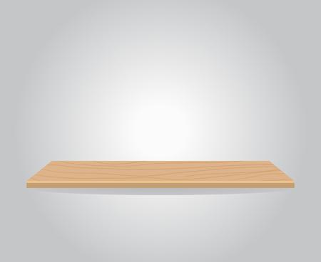 空の木製の棚の図では、灰色の壁