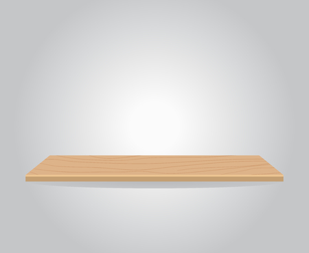 Empty wood shelf illustration, gray wall 向量圖像