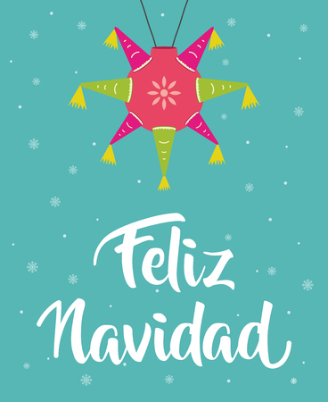 Feliz Navidad , Merry christmas in spanish with piñata