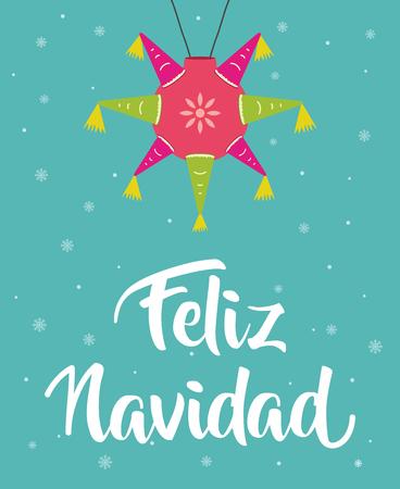 Feliz Navidad , Merry christmas in spanish with pi�ata