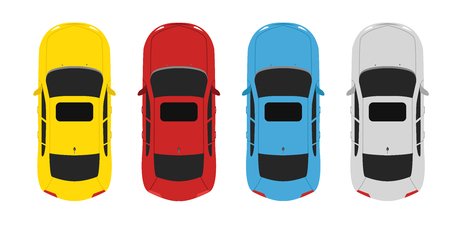 ビューの上の車を設定色を駐車場  イラスト・ベクター素材