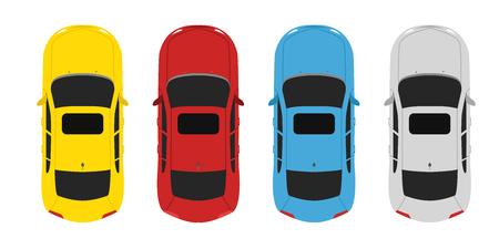 Parking color set cars above view Illustration